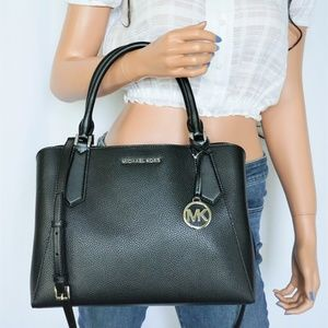 Michael Kors Kimberly L Satchel Leather Bag Black
